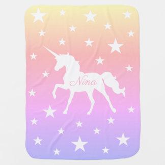 Rainbow Unicorn And Stars Baby Blanket