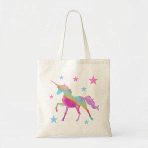 Rainbow Unicorn And Stars Tote Bag