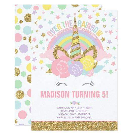 Rainbow unicorn birthday invitation pink gold zazzle rainbow unicorn birthday invitation pink gold stopboris Choice Image