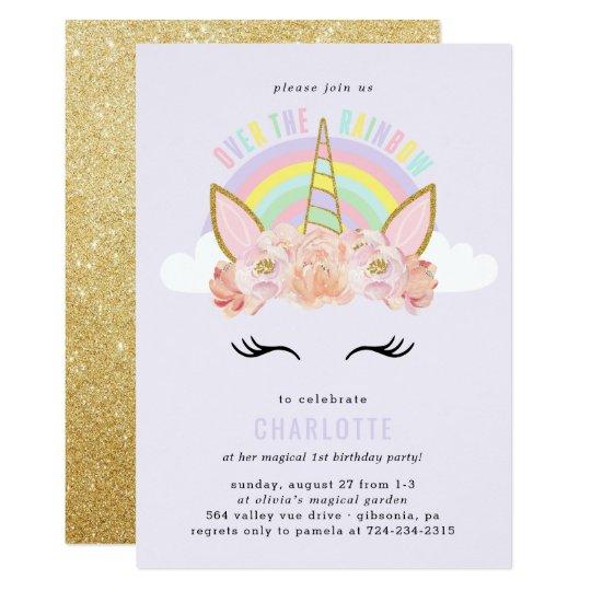 Rainbow unicorn birthday invitation pink gold zazzle rainbow unicorn birthday invitation pink gold stopboris Gallery