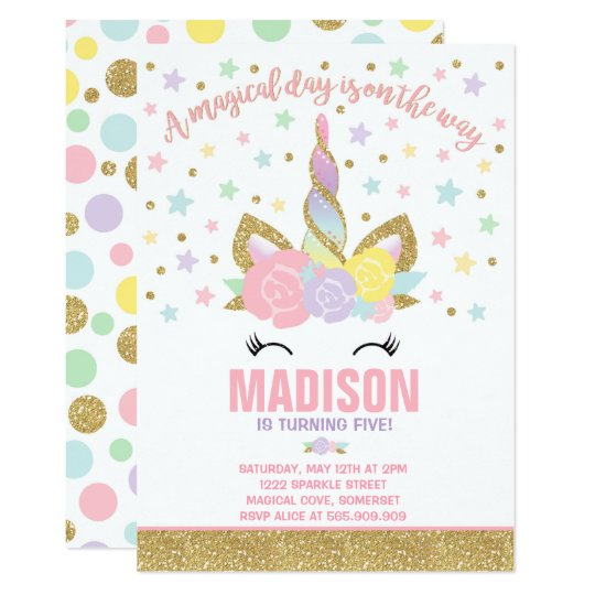 Rainbow Unicorn Birthday Invitation Pink Gold Zazzle Co Uk