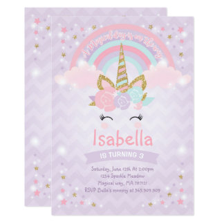 Rainbow Unicorn Birthday Invitation Purple Gold