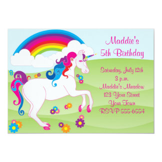Rainbow Unicorn Birthday Invitations