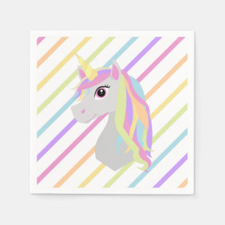 Rainbow Unicorn Birthday Paper Napkins