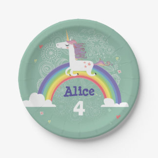 Rainbow Unicorn Birthday Paper Plate - GREEN