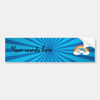 Rainbow unicorn blue sunburst bumper sticker