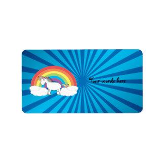 Rainbow unicorn blue sunburst label