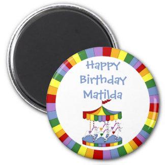 Rainbow Unicorn Carousel Birthday 6 Cm Round Magnet