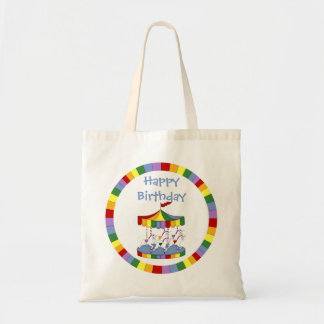 Rainbow Unicorn Carousel Birthday Budget Tote Bag