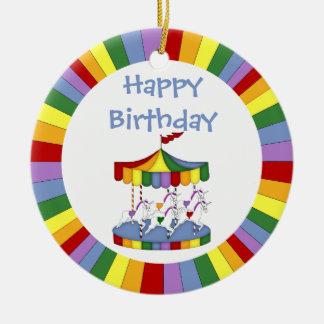 Rainbow Unicorn Carousel Birthday Christmas Ornament