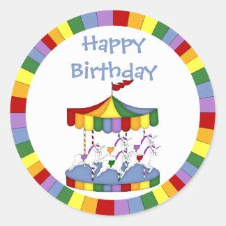Rainbow Unicorn Carousel Birthday Classic Round Sticker