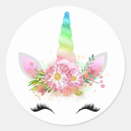 Rainbow Unicorn Face Stickers Zazzle Co Uk