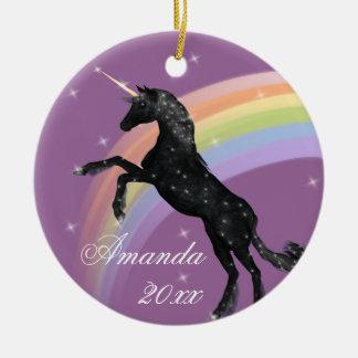 Rainbow Unicorn Fantasy Christmas Ornament