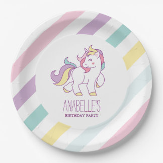 Rainbow Unicorn Girls Birthday Party Paper Plate