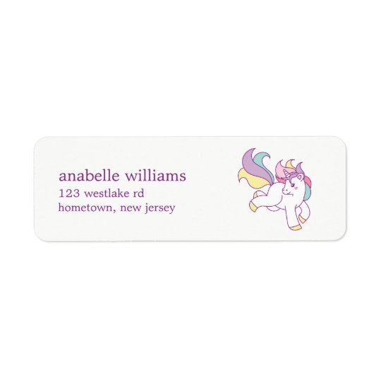 Rainbow Unicorn Girls Birthday Party Return Address Label