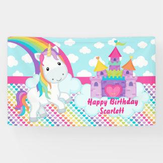 Rainbow Unicorn Happy Birthday Table Backdrop Banner