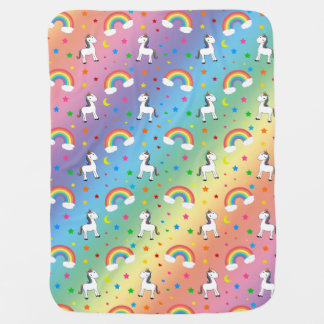 Rainbow unicorn hearts stars pattern baby blanket