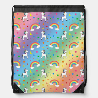 Rainbow unicorn hearts stars pattern drawstring bag