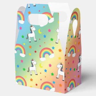Rainbow unicorn hearts stars pattern favour box