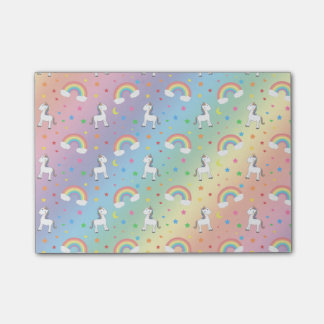 Rainbow unicorn hearts stars pattern post-it notes