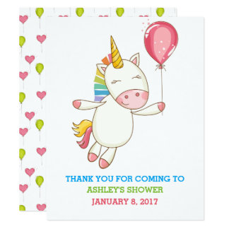Rainbow Unicorn Holding Balloon Thank You Card