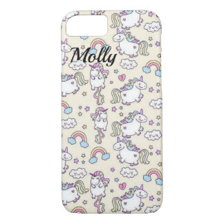 Rainbow Unicorn NAME Kawaii Cute Sweet iPhone 8/7 Case