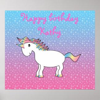 Rainbow unicorn on blue pink stars print