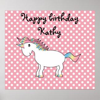 Rainbow unicorn on pink polka dots poster