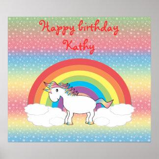 Rainbow unicorn on rainbow  stars poster