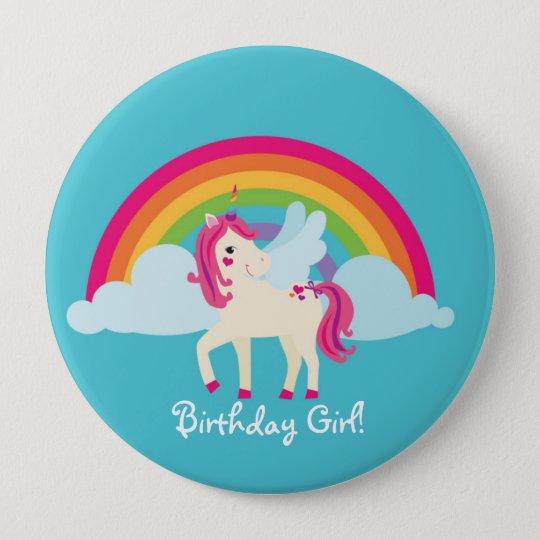 Rainbow Unicorn Personalised Birthday Button