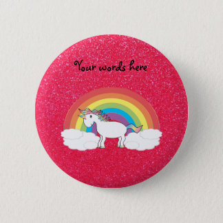 Rainbow unicorn pink glitter 6 cm round badge