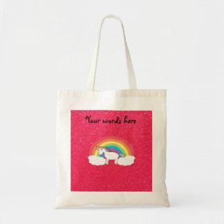 Rainbow unicorn pink glitter tote bags