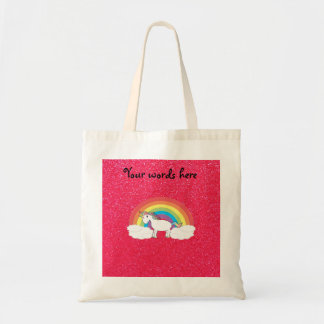 Rainbow unicorn pink glitter budget tote bag