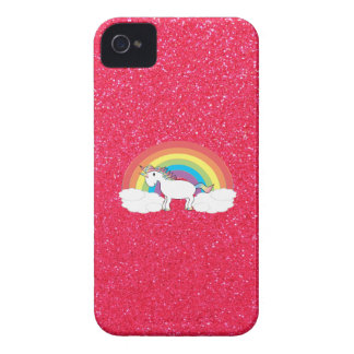 Rainbow unicorn pink glitter iPhone 4 cases