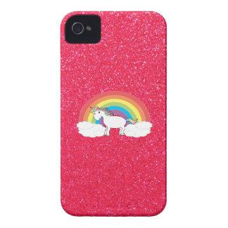 Rainbow unicorn pink glitter iPhone 4 cover