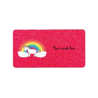 Rainbow unicorn pink glitter label