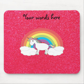 Rainbow unicorn pink glitter mouse mat