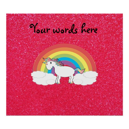 Rainbow unicorn pink glitter print