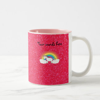 Rainbow unicorn pink glitter Two-Tone coffee mug