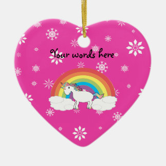 Rainbow unicorn pink snowflake ornament