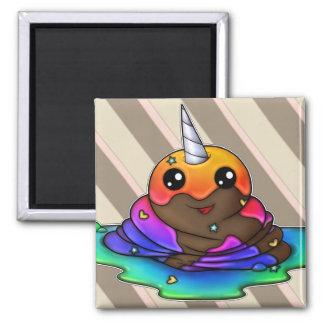Rainbow Unicorn Poop Square Magnet