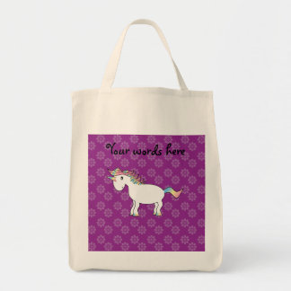 Rainbow unicorn purple flowers pattern grocery tote bag