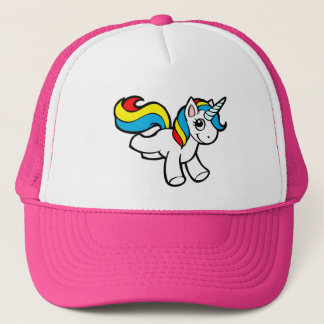 Rainbow unicorn toon trucker hat