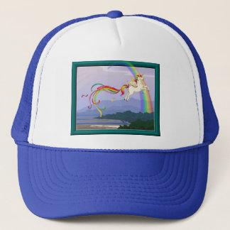 Rainbow unicorn trucker hat