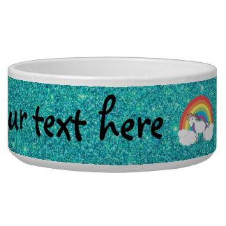 Rainbow unicorn turquoise glitter