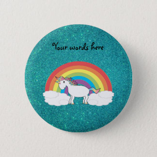 Rainbow unicorn turquoise glitter 6 cm round badge