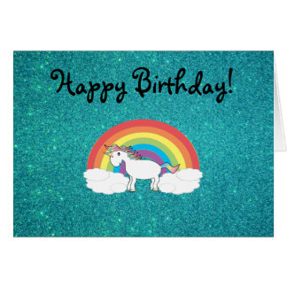 Rainbow unicorn turquoise glitter card