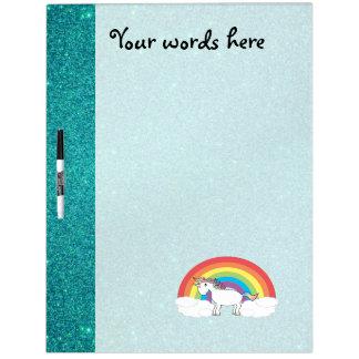 Rainbow unicorn turquoise glitter dry erase board
