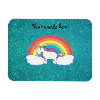 Rainbow unicorn turquoise glitter rectangular photo magnet