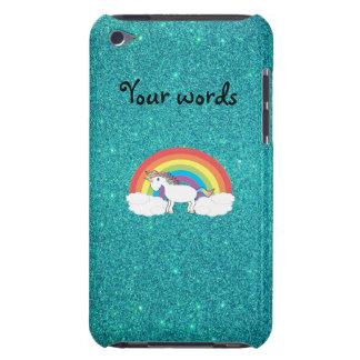 Rainbow unicorn turquoise glitter iPod touch cases